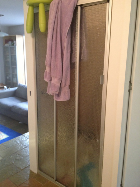 This is the shower in the main bathroom. Before.